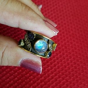 Moonstone Iolite Artisan Ring Sterling Silver NEW
